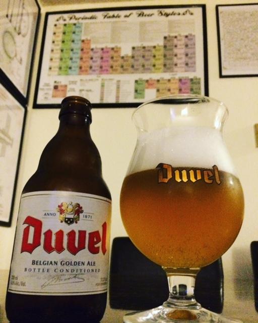 Duvel Belgian Golden Strong Ale in an official tulip glass.