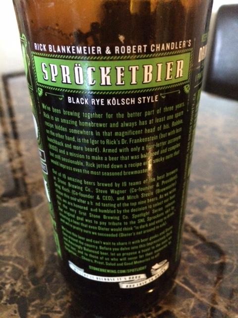 Sprocketbier Black Rye Kolsch from Stone Brewing Co.